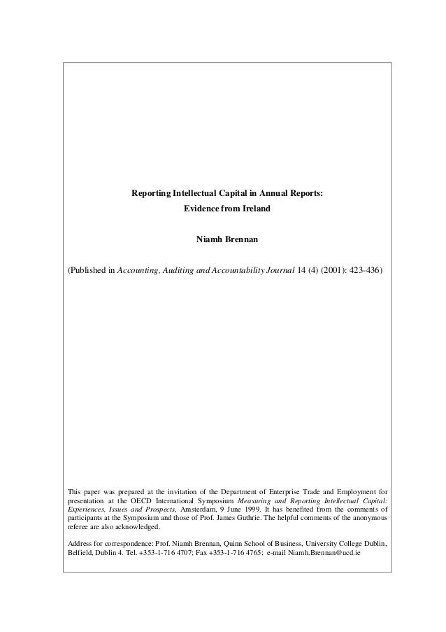 Reporting Intellectual Capital in Annual Reports:                                    Evidence from Ireland                ...
