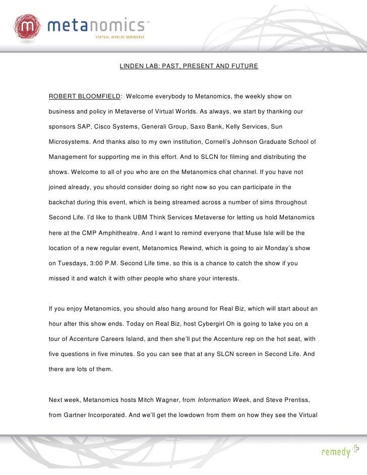 041408 Linden Labs Past Present And Future Metanomics Transcript