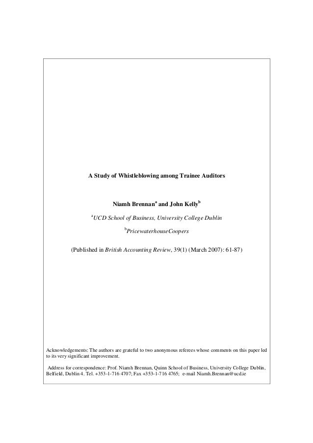 A Study of Whistleblowing among Trainee Auditors                               Niamh Brennana and John Kellyb             ...