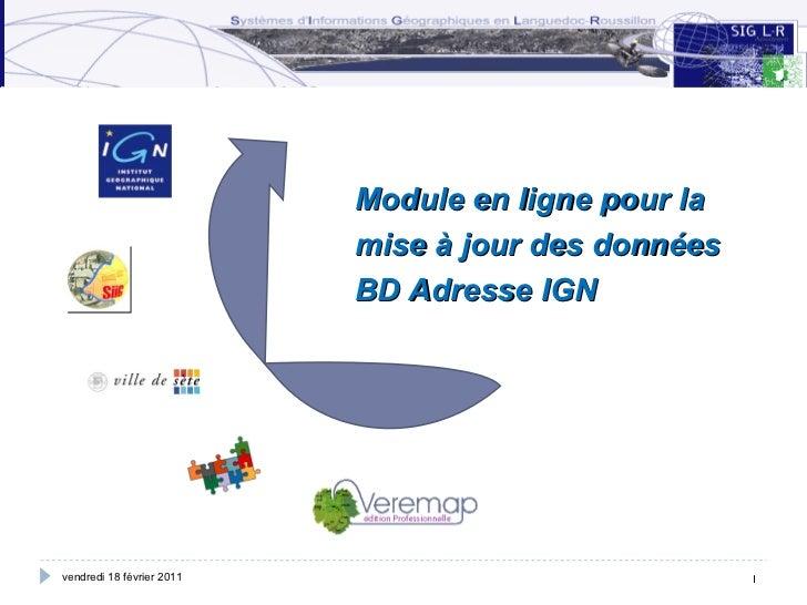Module en ligne pour la mise à jour des données BD Adresse IGN