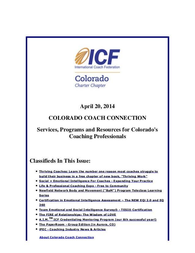 April 20, 2014 Colorado Coach Connection