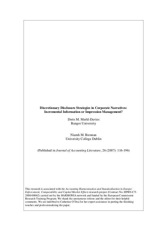 """Merkl-Davies, Doris M. and Brennan, Niamh M. [2007] Discretionary Disclosure Strategies in Corporate Narratives: Incremental Information or Impression Management?"""", Journal of Accounting Literature, 26: 116-196."""