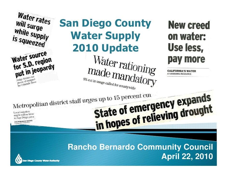 San Diego County   W t S      l   Water Supply   2010 Update      Rancho Bernardo Community Council                      A...