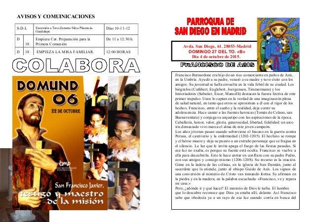 AVISOS Y COMUINICACIONES Avda. San Diego, 61. 28053-Madrid DOMINGO 27 DEL TO. «B» Día 4 de octubre de 2015. Francisco Bern...