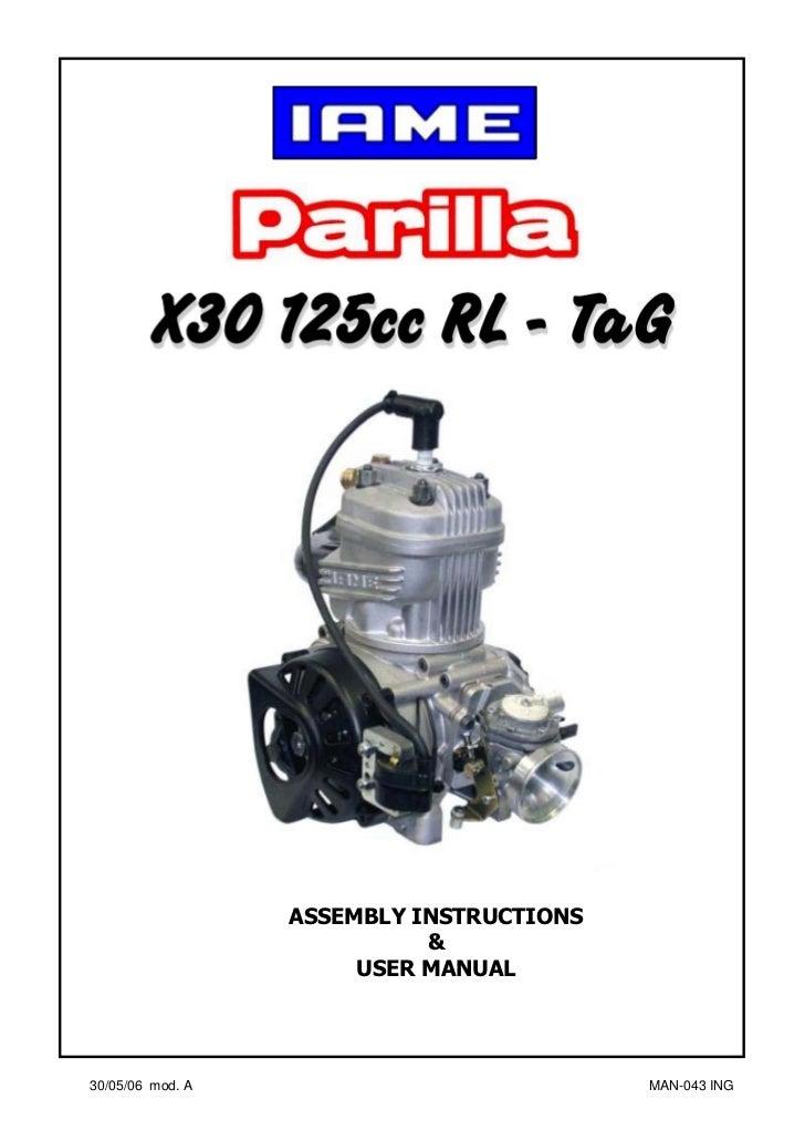 Manual Go-kart Parilla Engine X30.eng