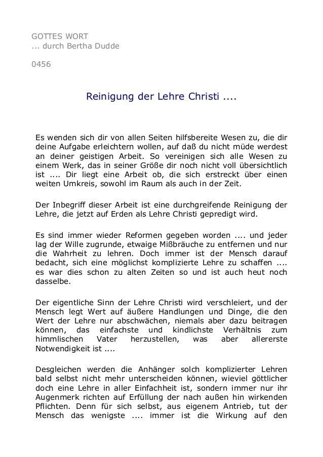 GOTTES WORT ... durch Bertha Dudde 0456 Reinigung der Lehre Christi .... Es wenden sich dir von allen Seiten hilfsbereite ...