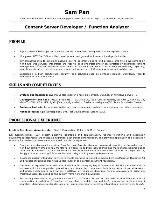 Livelink resume