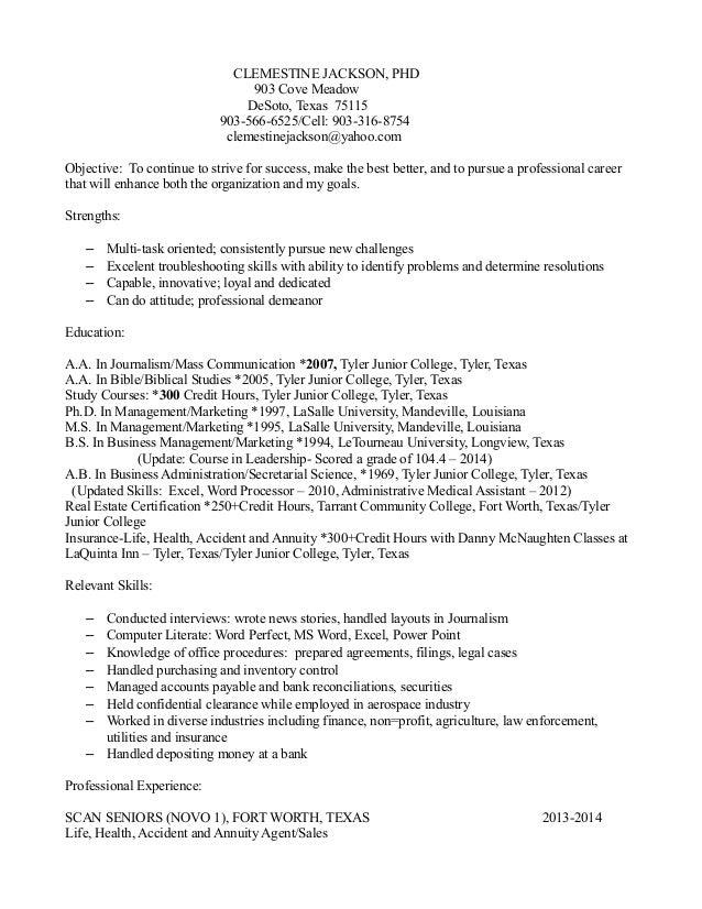 Clemestine Jackson Resume-DeSoto, Texas