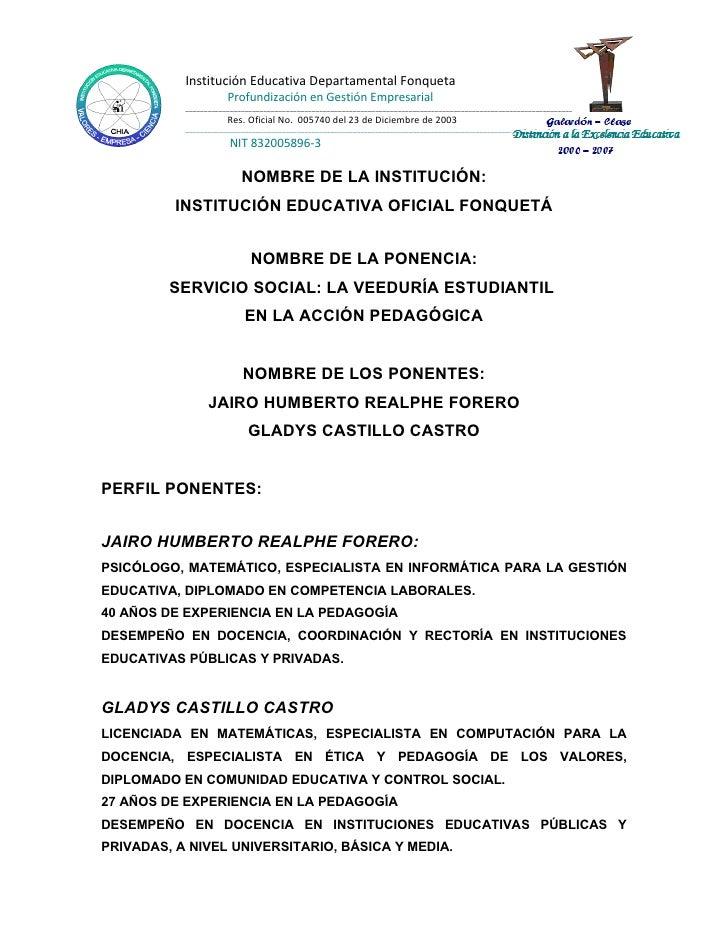 Institución Educativa Departamental Fonqueta                       Profundización en Gestión Empresarial            ______...