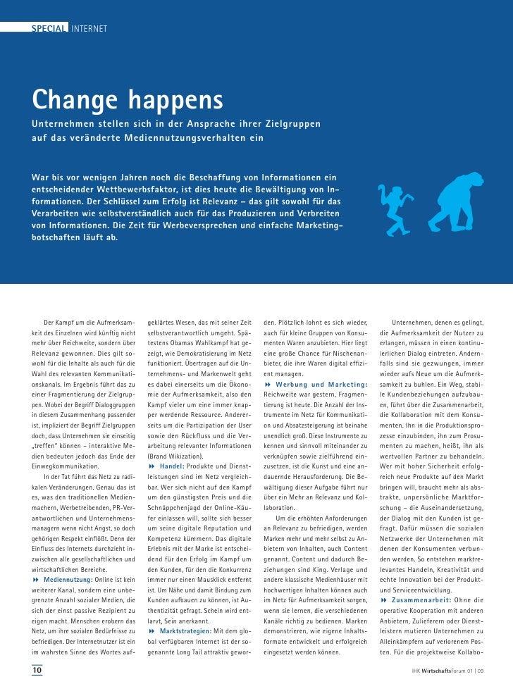 SPECIAL INTERNETChange happensUnternehmen stellen sich in der Ansprache ihrer Zielgruppenauf das veränderte Mediennutzungs...