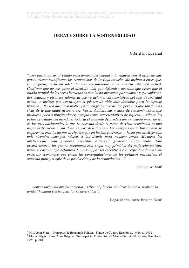 Desarrollo Conceptual y Metodológico de una Propuesta de Desarrollo Urbano Sostenible parala Ciudad-Región Bogotá en clave...