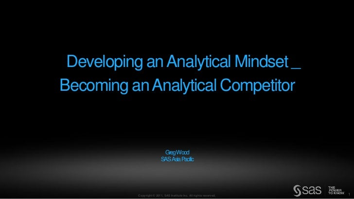Developing an Analytical Mindset – Becoming an Analytical Competitor