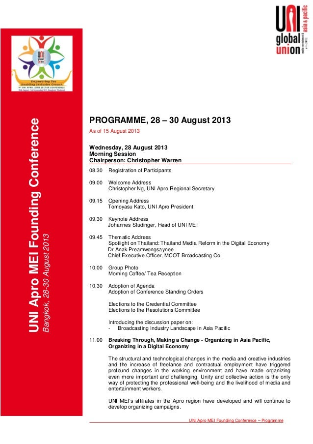 UNI Apro MEI Founding Conference – Programme UNIAproMEIFoundingConference Bangkok,28-30August2013 PROGRAMME, 28 – 30 Augus...