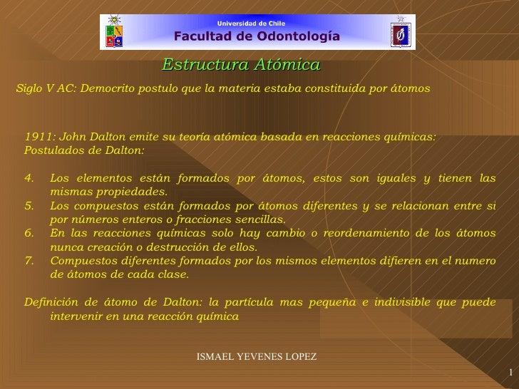 ISMAEL YEVENES LOPEZ Siglo V AC: Democrito postulo que la materia estaba constituida por átomos <ul><li>1911: John Dalton ...