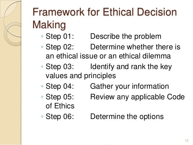 ethical decision making paper essay example Every individual view ethics differently no matter how one may view ethics at the end of the day ethics is a determination of an individual's own belief o.