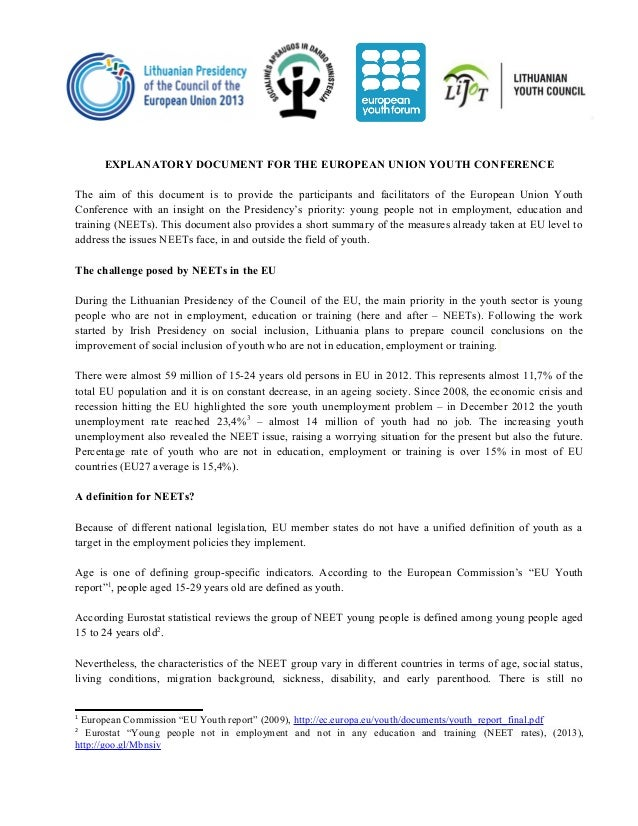 Explanatory document on the NEET and EU measures for the EU youth conference