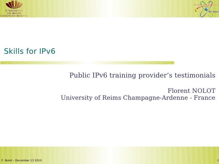 Public IPv6 training provider's testimonials - Florent Nolot (Univ. Reims)
