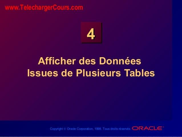 Copyright © Oracle Corporation, 1998. Tous droits réservés. 44 Afficher des Données Issues de Plusieurs Tables www.Telecha...