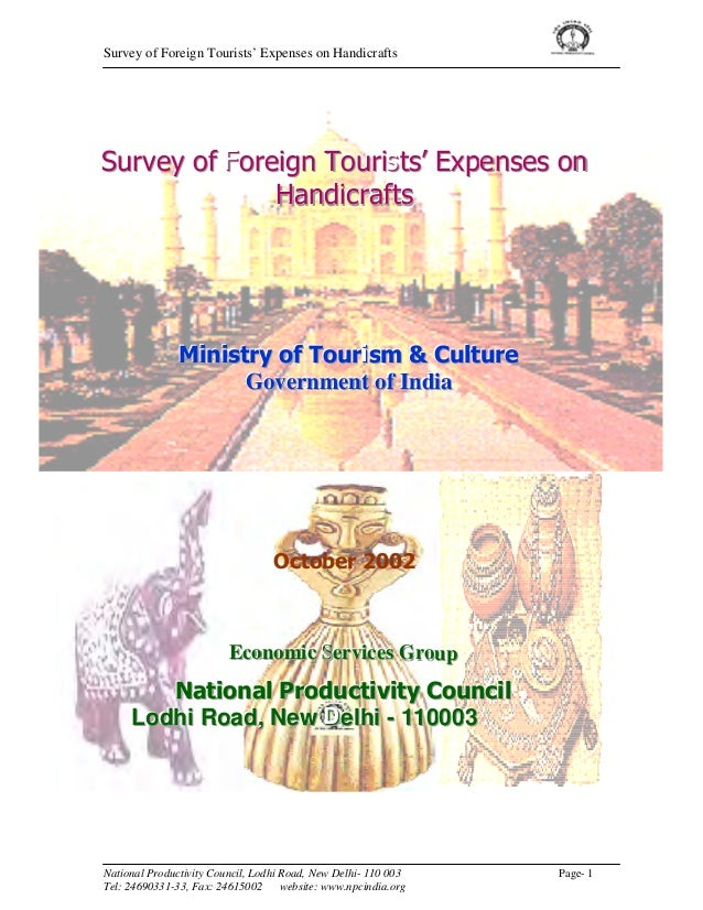 Survey of Foreign Tourists' Expenses on HandicraftsSurvey of Foreign Tourists' Expenses on              Handicrafts       ...