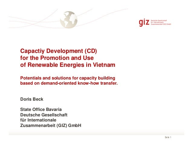 Capactiy Development (CD) for the Promotion and Use of Renewable Energies in Vietnam Potentials and solutions for capacity...