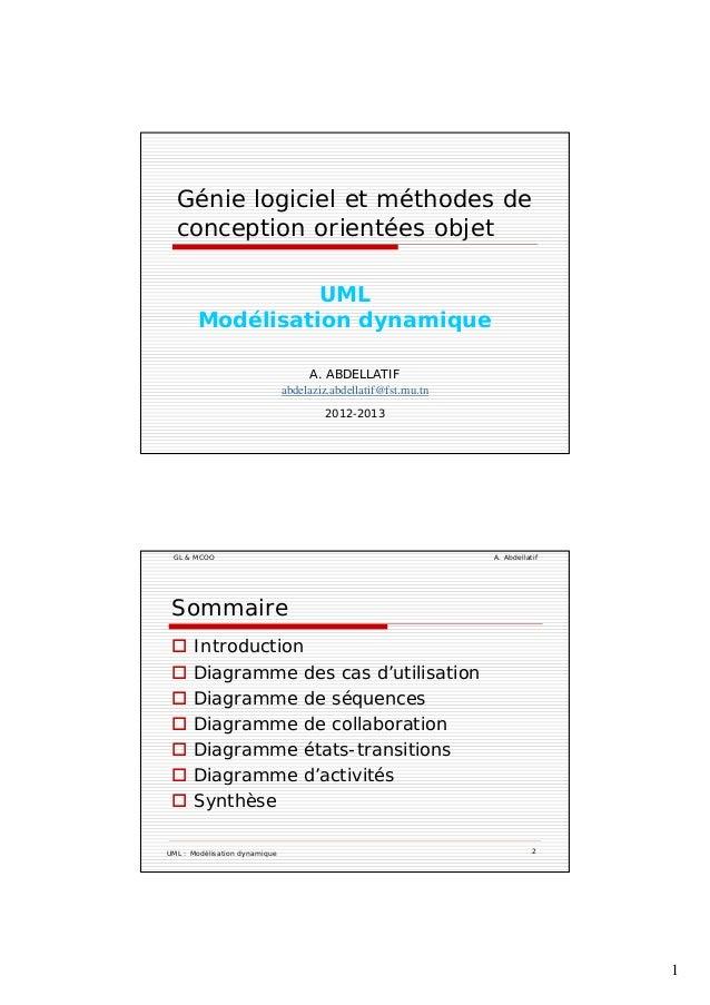 1 Génie logiciel et méthodes de conception orientées objetp j UML Modélisation dynamique A. ABDELLATIF abdelaziz.abdellati...