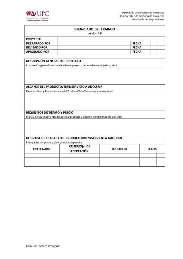 Diplomado de Dirección de Proyectos  Cuarto Taller de Gerencia de Proyectos  Gestión de las Adquisiciones  ENUNCIADO DEL T...