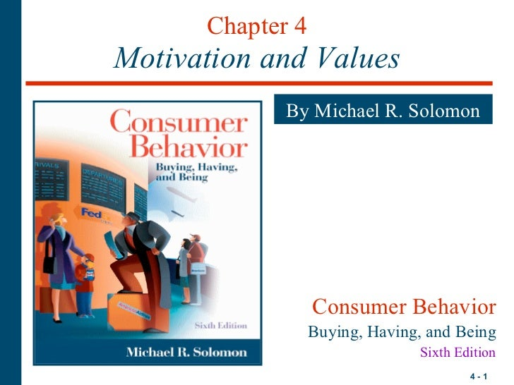 Chapter 4 Motivation and Values By Michael R. Solomon Consumer Behavior Buying, Having, and Being Sixth Edition