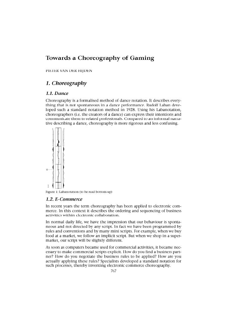 A Choreography of Gaming