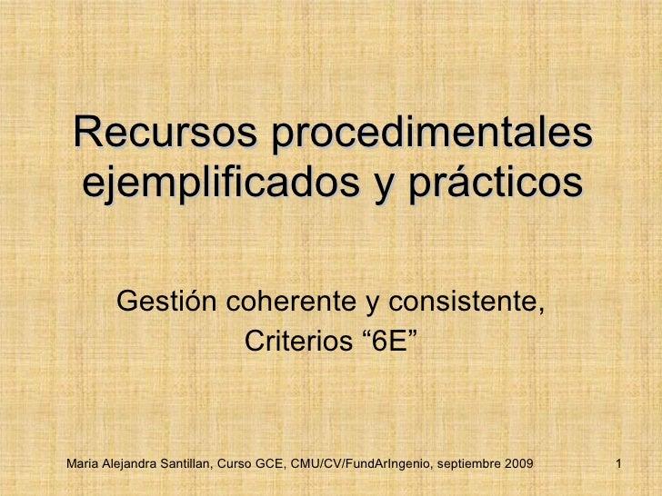 """Recursos procedimentales ejemplificados y prácticos Gestión coherente y consistente, Criterios """"6E"""" Maria Alejandra Santil..."""
