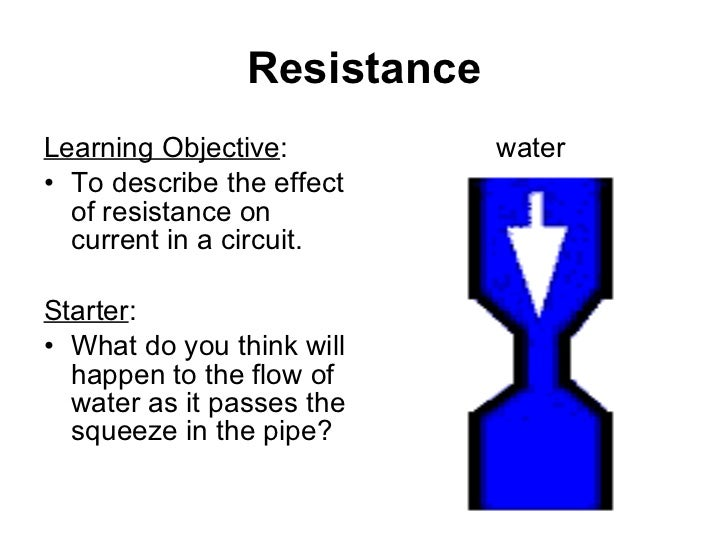 Resistance <ul><li>Learning Objective : </li></ul><ul><li>To describe the effect of resistance on current in a circuit. </...