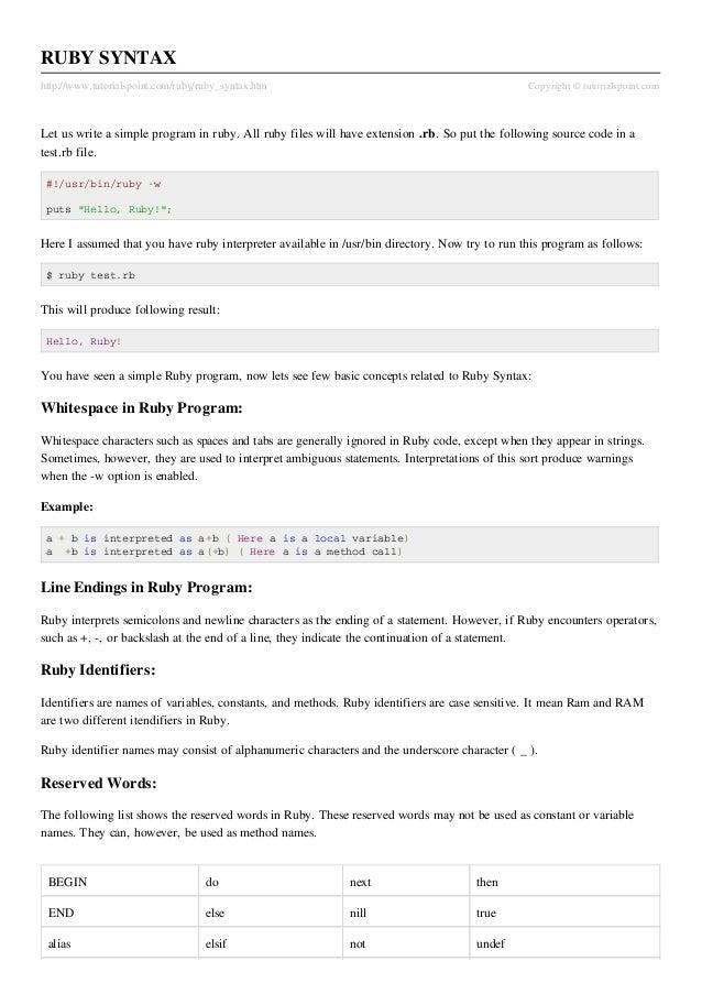 RUBY SYNTAXhttp://www.tutorialspoint.com/ruby/ruby_syntax.htm                                             Copyright © tuto...