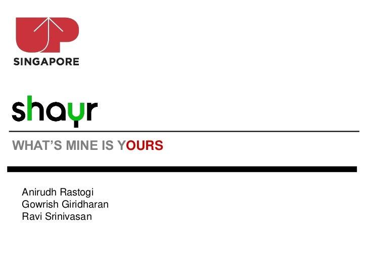 WHAT'S MINE IS YOURS Anirudh Rastogi Gowrish Giridharan Ravi Srinivasan