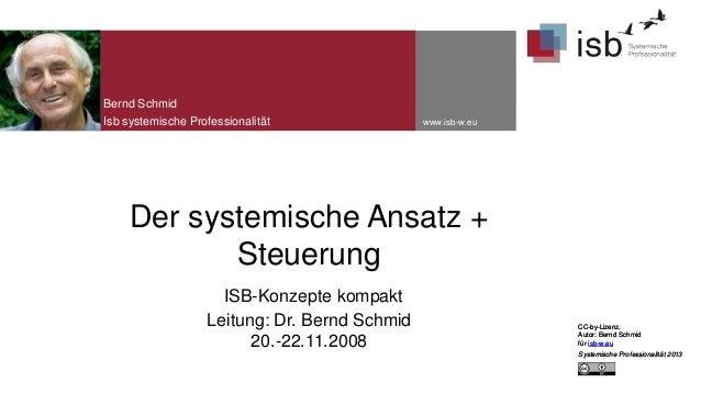Bernd Schmid Isb systemische Professionalität  www.isb-w.eu  Der systemische Ansatz + Steuerung ISB-Konzepte kompakt Leitu...