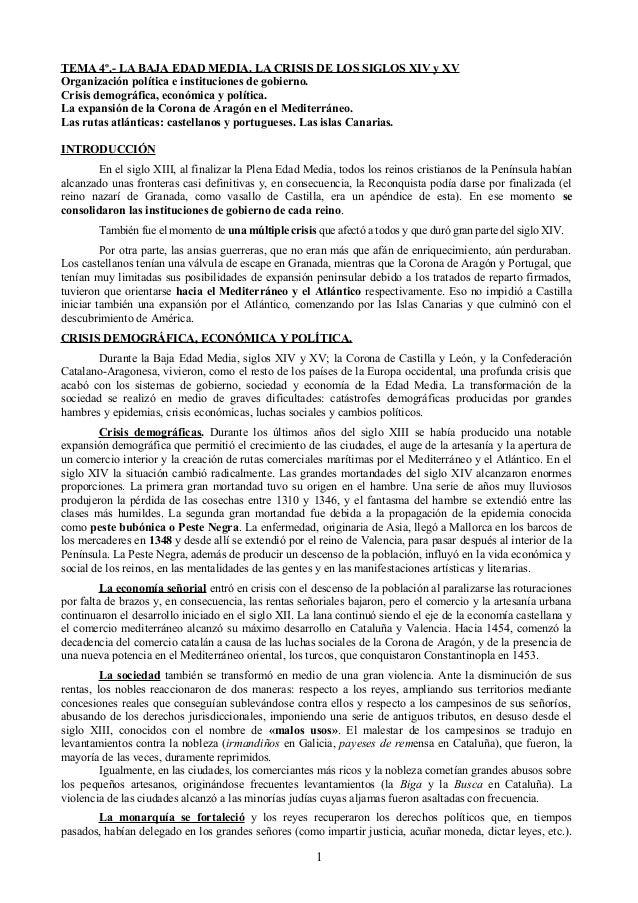 TEMA 4º.- LA BAJA EDAD MEDIA. LA CRISIS DE LOS SIGLOS XIV y XV Organización política e instituciones de gobierno. Crisis d...