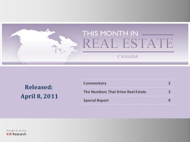 This Month in Real Estate- Canada Market: April 2011