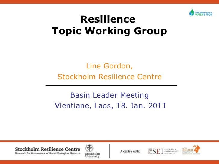Resilience CPWF Topic Working Group presentation