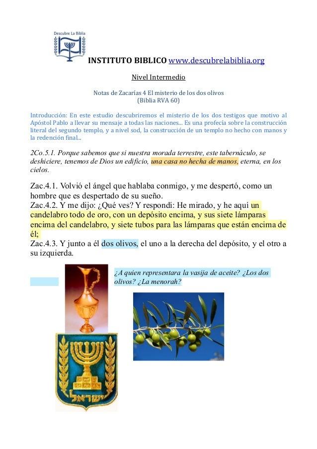 INSTITUTO  BIBLICO  www.descubrelabiblia.org Nivel  Intermedio Notas  de  Zacarías  4  El  misterio  de...