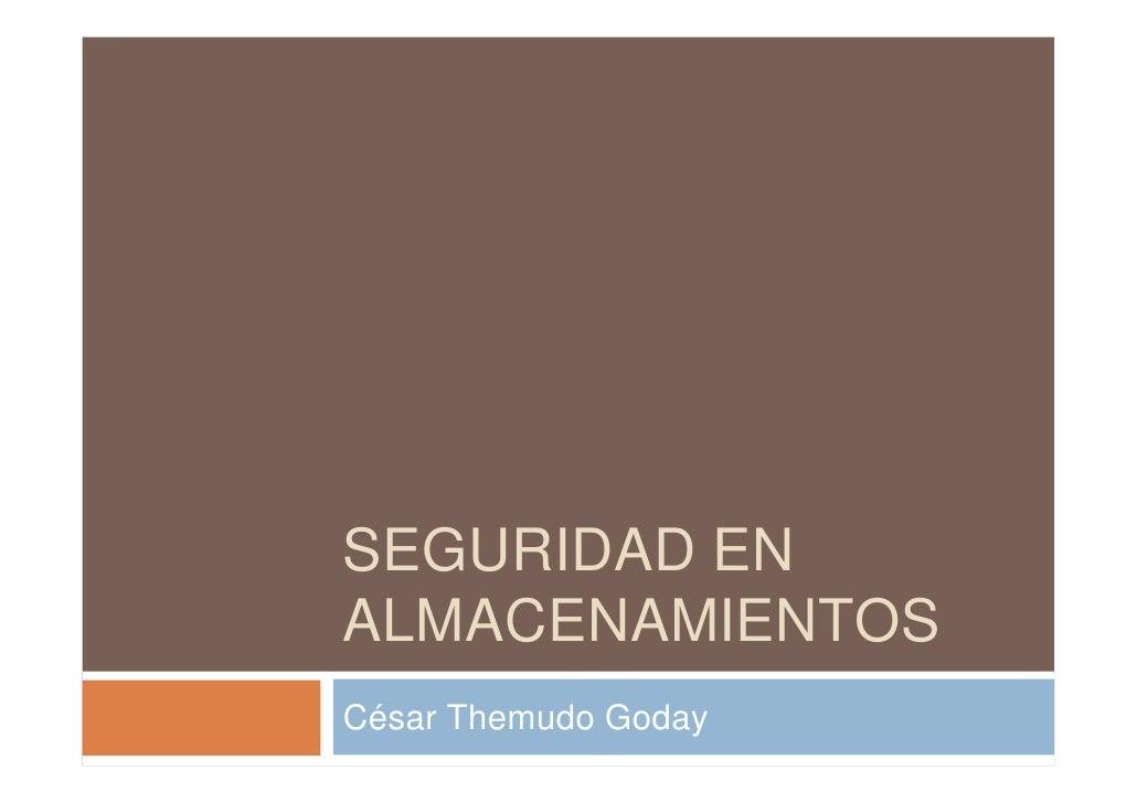 SEGURIDAD EN ALMACENAMIENTOS César Themudo Goday