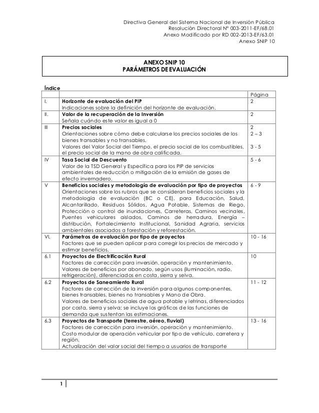 Directiva General del Sistema Nacional de Inversión Pública Resolución Directoral N° 003-2011-EF/68.01 Anexo Modificado po...