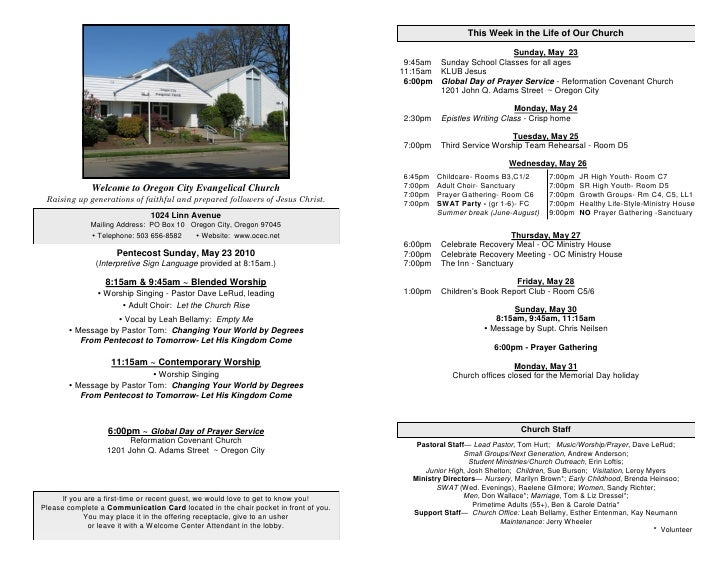 This Week in the Life of Our Church                                                                                       ...
