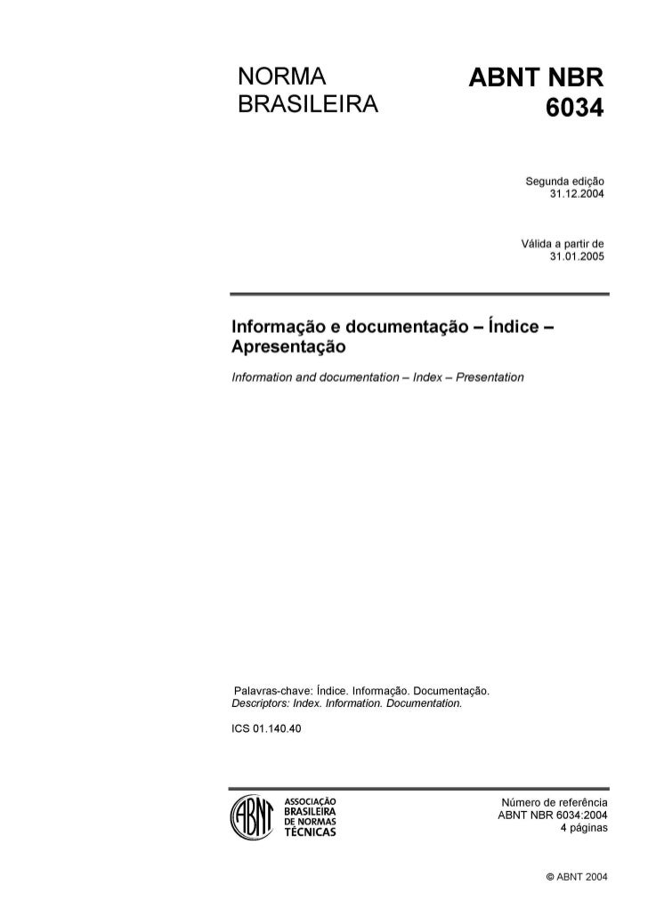 05.abnt nbr 6034   norma brasileira - informação e documentação - índice - apresentação