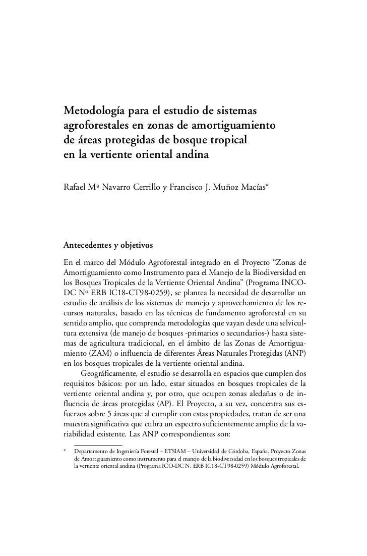 Metodología para el estudio de sistemasagroforestales en zonas de amortiguamientode áreas protegidas de bosque tropicalen ...