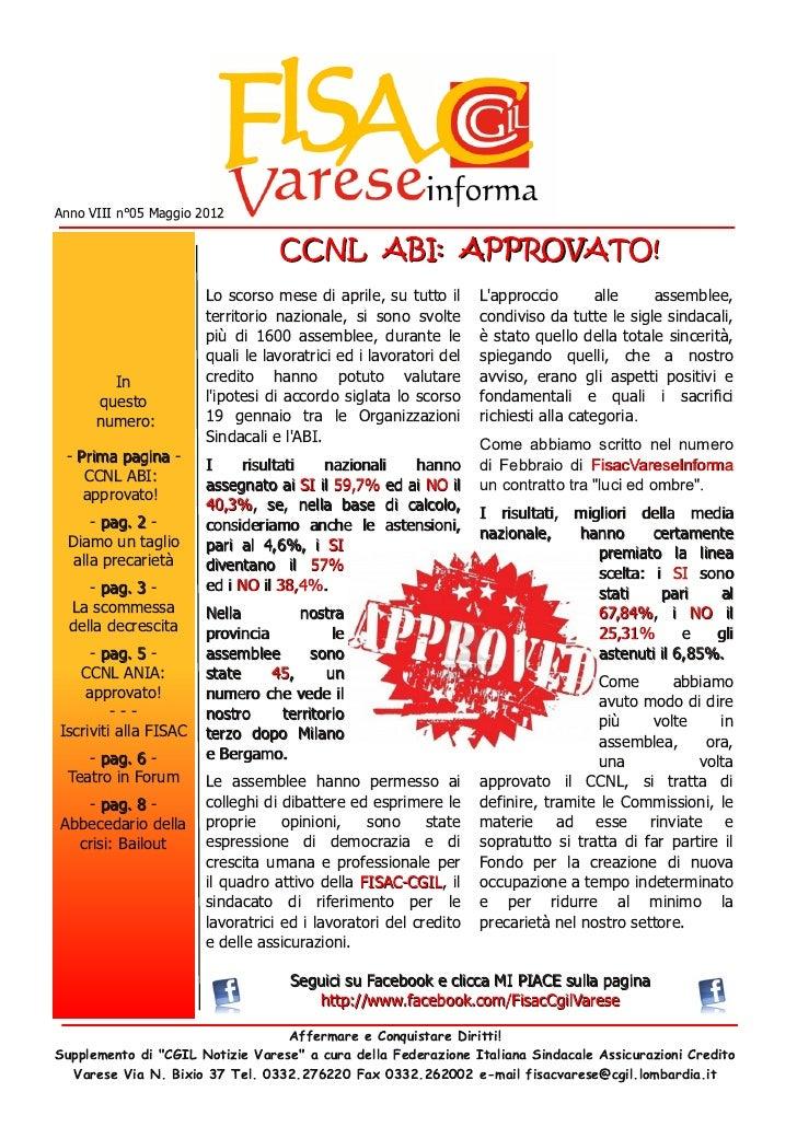 FisacVareseInforma n°05 Maggio 2012 -  Ccnl abi approvato ed altro