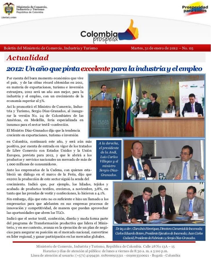 Boletín del Ministerio de Comercio, Industria y Turismo                              Martes, 31 de enero de 2012 – No. 05 ...