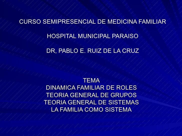 CURSO SEMIPRESENCIAL DE MEDICINA FAMILIAR HOSPITAL MUNICIPAL PARAISO DR, PABLO E. RUIZ DE LA CRUZ TEMA DINAMICA FAMILIAR D...