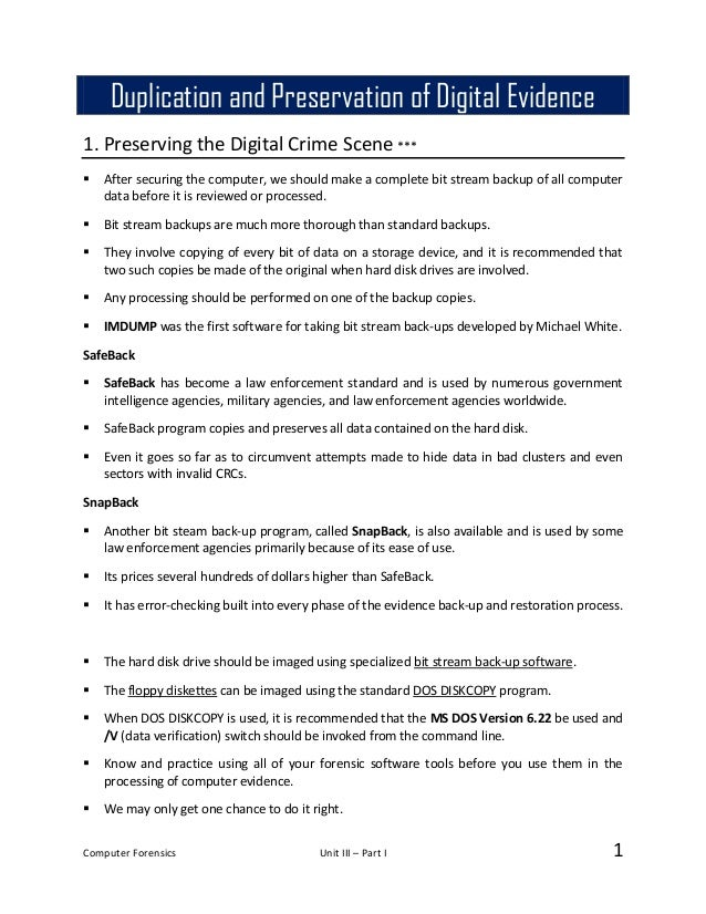 05 Duplication and Preservation of Digital evidence - Notes