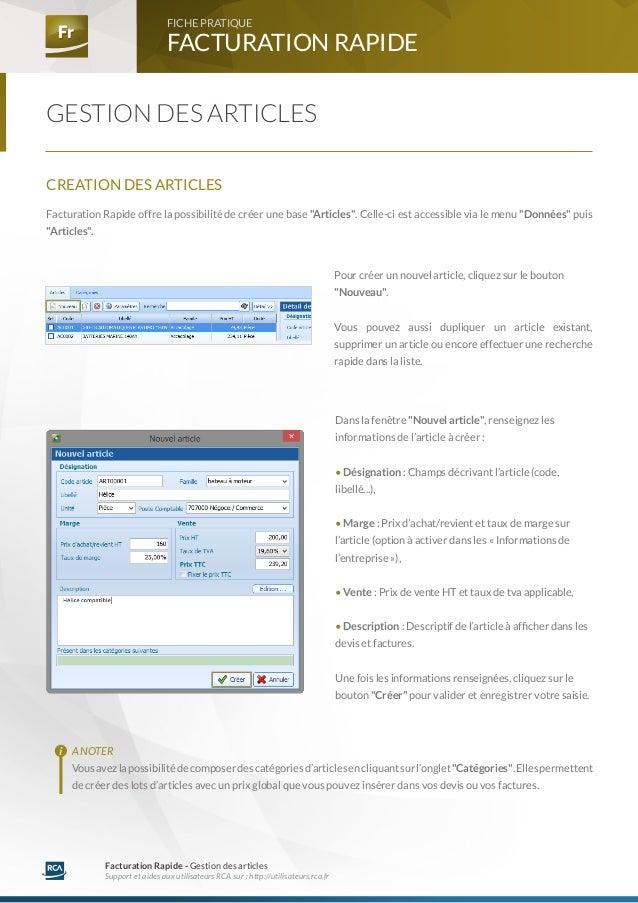 FR - Paramétrage - Gestion des articles