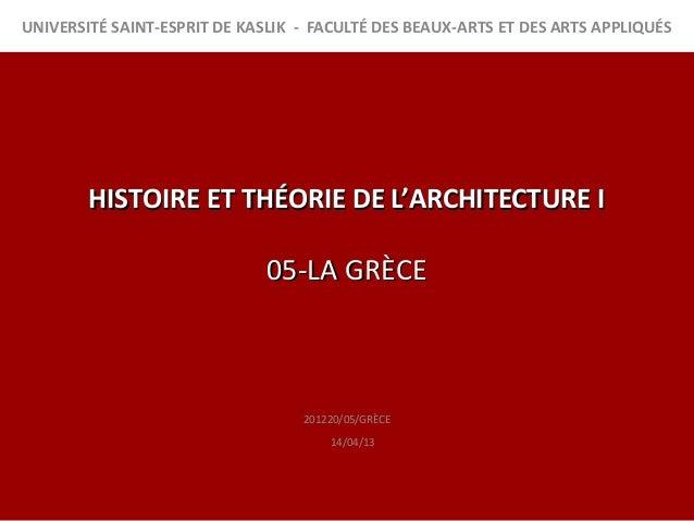 UNIVERSITÉ SAINT-ESPRIT DE KASLIK - FACULTÉ DES BEAUX-ARTS ET DES ARTS APPLIQUÉS        HISTOIRE ET THÉORIE DE L'ARCHITECT...
