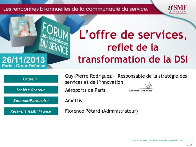 L'offre de services, reflet de la transformation de la DSI Orateur Société Orateur Sponsor/Partenaire Référent itSMF Franc...