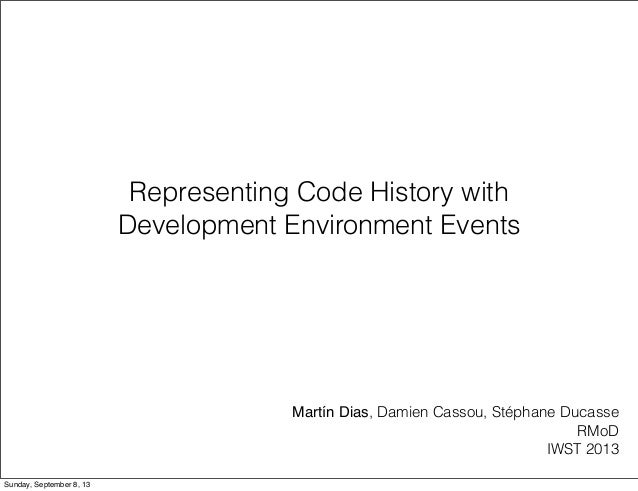Representing Code History with Development Environment Events